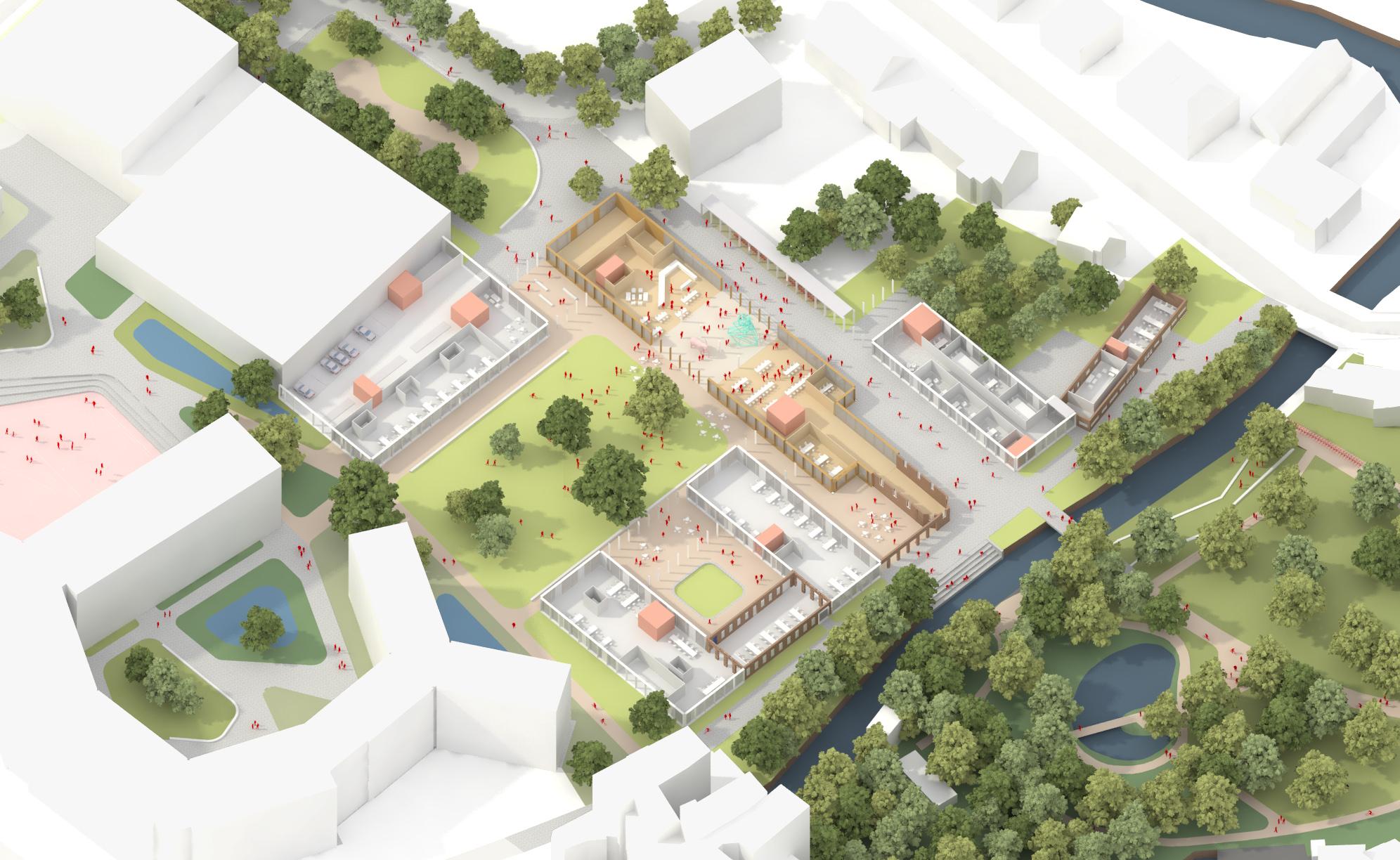 Redingensite Leuven - RAU Architects - Axon exploded no roof